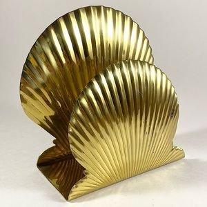 Vintage brass Gatco shells napkin holder organizer